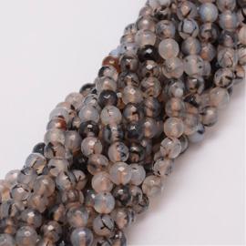 C236- ruim 55 stuks crackle agaat gemstone kralen 6mm lichtgrijs