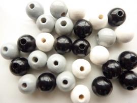 6013011- 50 stuks houten kralenmix zwart/grijs tinten 10mm