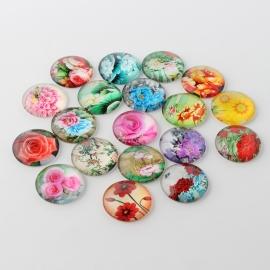 10 stuks glas cabochons bloemen mix no.2 12mm