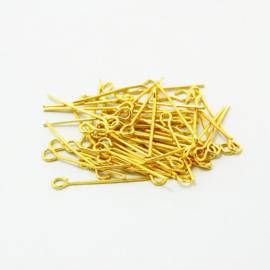 P.123- 100 stuks kettelstiften van 20mm goudkleur