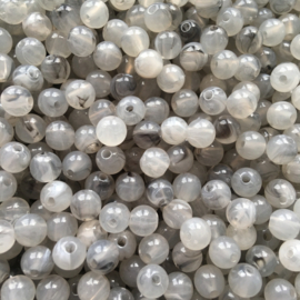 C387- ca. 85 stuks acryl kralen 6mm imitation gemstone grijs