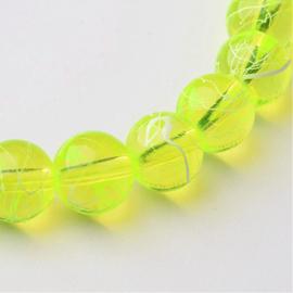C310- 40 stuks glaskralen transparant drawbench 8mm fluor greenyellow