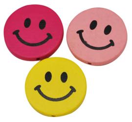 12 stuks houten kralen smileys 17mm kleurenmix