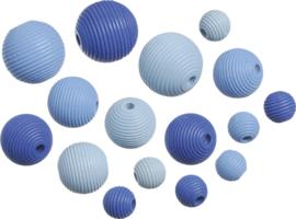 216023134- 20 stuks houten kralen mix geribbeld blauw 10 tot 20mm