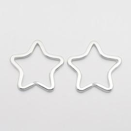 10 stuks sleutelringen stervorm 34mm - stevige zware kwaliteit!