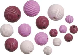 216023124- 20 stuks houten kralen mix geribbeld roze 10 tot 20mm