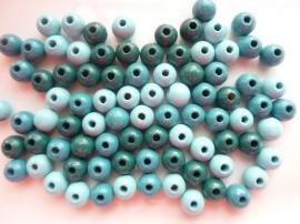 6012806- 85 stuks houten kralenmix turquoise tinten 8mm