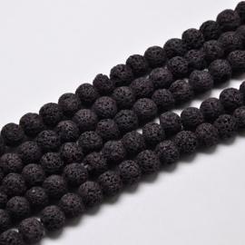 C242- 50 stuks lava steen kralen 8mm zwart