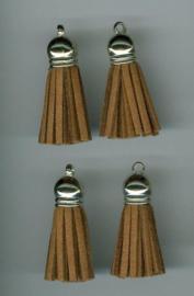 432102/1203- 4 kwastjes-tassel met cap suede van 3cm lichtbruin
