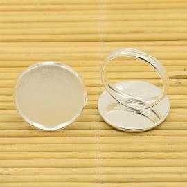 K44- verstelbare ring met glass cabochon - 20mm zilver