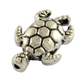 C284- 12 stuks zwaar metalen kralen schildpad 12.5x9x4mm zilverkleur