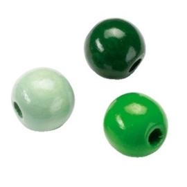 6014460-155 stuks houten kralenmix groen tinten 4mm