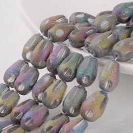 C175- 12 stuks druppel facet rainbow stardust glaskralen van 15x10mm