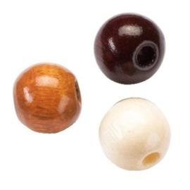 6014580-155 stuks houten kralenmix bruin tinten 4mm