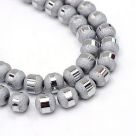 C235- 20 stuks electroplated stardust glaskralen 9mm silver