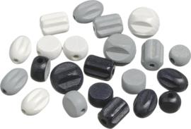 216023265- 20 stuks houten kralen mix zwart/wit/grijs 10 tot 18mm