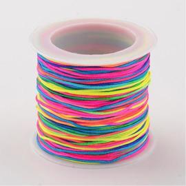35 meter nylon knoopkoord van 0.8mm neon regenboog