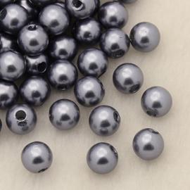 C147- ruim 100 stuks kunststof parels grijs/paars van 6mm