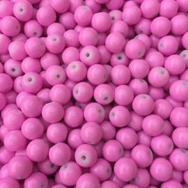 C98- 50 stuks glaskralen baking painted 8mm opak zuurstok roze