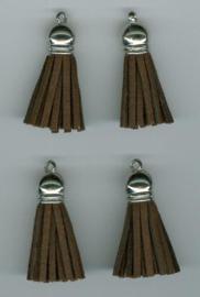 432102/1202- 4 kwastjes-tassel met cap suede van 3cm bruin