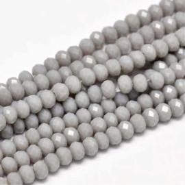 C338.C- ca. 150 stuks facet glaskralen abacus 4x3mm grijs