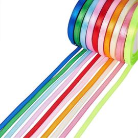 10 rollen satijnlint van 6mm kleurenmix - totaal 228 meter!