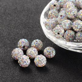 C135.B- 5 stuks A-kwaliteit strass ballen van 10mm crystal AB