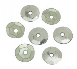 25 gram pailletten facet 6mm zilverkleur met staal plating - circa 2500 stuks