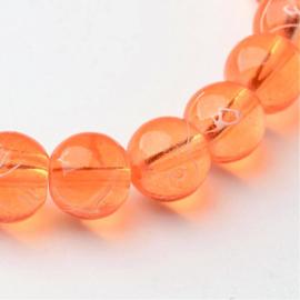 C362- 40 stuks glaskralen transparant drawbench 8mm oranje