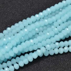 C341.B- ca. 150 stuks abacus facet geslepen glaskralen 4x3mm aqua