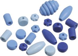 216023434- 20 stuks houten kralen mix blauw tinten 10 tot 30mm