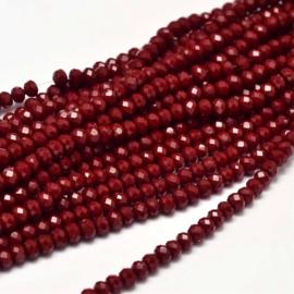 C338.A- ca. 150 stuks facet glaskralen abacus 4x3mm medium red