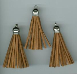 432102/1223- 3 kwastjes-tassel met cap suede van 5cm lichtbruin