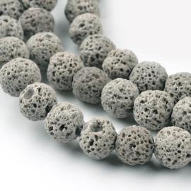 C377- ca. 60 stuks imitatie gemstone natural lava kralen 6mm grijs