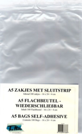 THWZ105- 100 plastic zakjes met kleefstrip 160x220mm