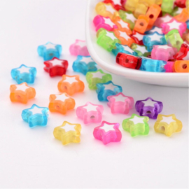 C40- 50 stuks acryl sterren bead-in-bead 9x10x4mm kleurenmix