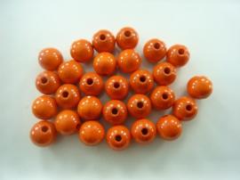 6021102- 28 stuks houten kralen oranje 12mm