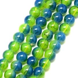 C221- ruim 90 stuks painted glaskralen imitatie opalite 6mm bleu/green/yellow