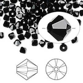2207 780- 25 stuks echte Swarovski crystal kralen 4mm jet black