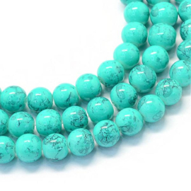 C230- 175 stuks glaskralen spray painted marmer 4mm turquoise