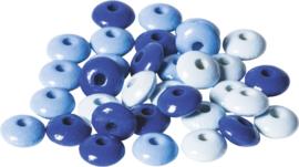 KN6023534- 33 stuks houten woodlens kralen 10mm blauw mix