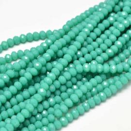 C297.B- ca. 150 stuks facet glaskralen abacus 4x3mm medium turquoise