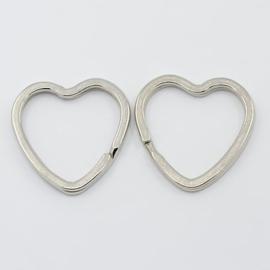 2 stuks sleutelringen hartvorm 31mm - stevige zware kwaliteit!