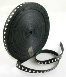 rol met 45 meter satijnlint van 10mm breed zwart met zwarte hartjes - super aanbieding!