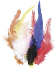 KN6621996- 16 stuks hanenveren van circa 10cm lang kleurenmix