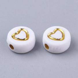 30 stuks letterkralen hartjes wit/goud - als aanvulling voor letterkralen 7x4mm