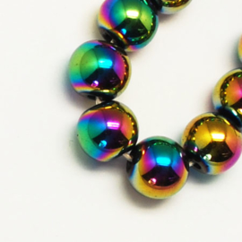 C379- 50 stuks non-magnetic hematite kralen 8mm rainbow plated