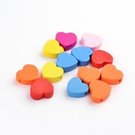 20 stuks houten kralen hartjes 18x17mm kleurenmix