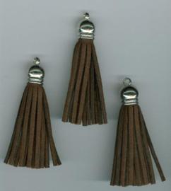 432102/1222- 3 kwastjes-tassel met cap suede van 5cm donkerbruin