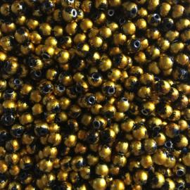 C374- 50 stuks glaskralen zwart met goldpaint 6mm